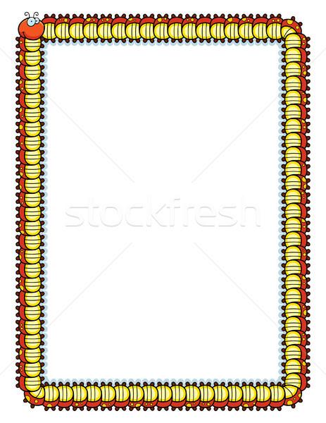 Tırtıl sınır gülen karikatür dizayn kırmızı Stok fotoğraf © cthoman