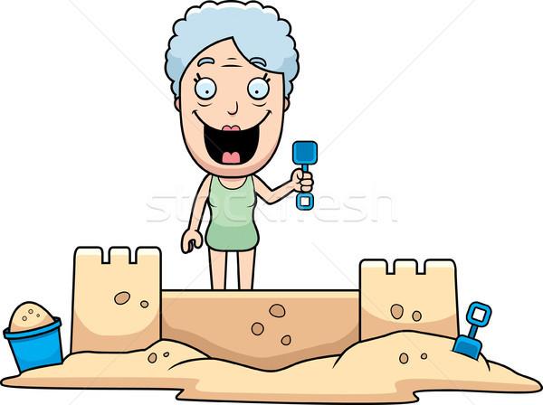 женщину двухуровневый стробирующий импульс Cartoon иллюстрация здании счастливым Сток-фото © cthoman