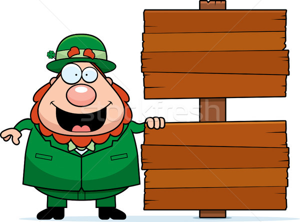 Cartoon Leprechaun Sign Stock photo © cthoman