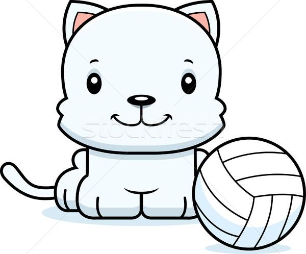 Cartoon Smiling Volleyball Player Kitten Stock photo © cthoman