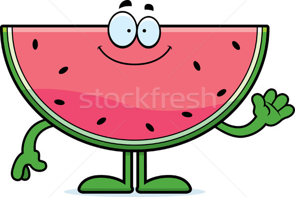 Rajz görögdinnye integet illusztráció étel boldog Stock fotó © cthoman