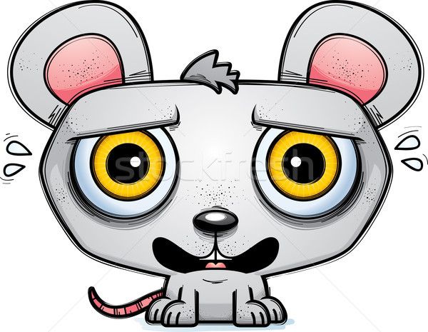 Terrified Little Cartoon Mouse Stock photo © cthoman