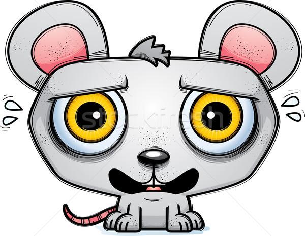 Przerażony mały cartoon myszą ilustracja patrząc Zdjęcia stock © cthoman