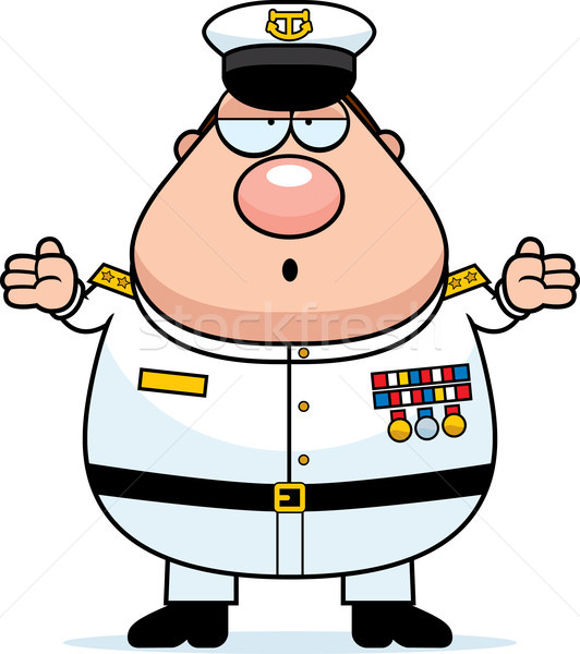 Confused Cartoon Navy Admiral Stock photo © cthoman