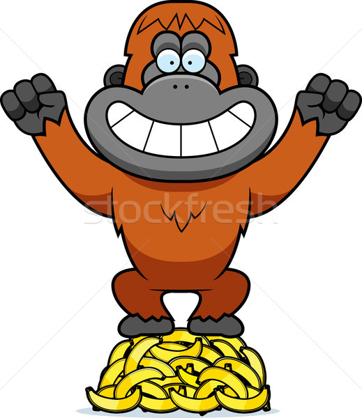 Cartoon Orangutan Bananas Stock photo © cthoman
