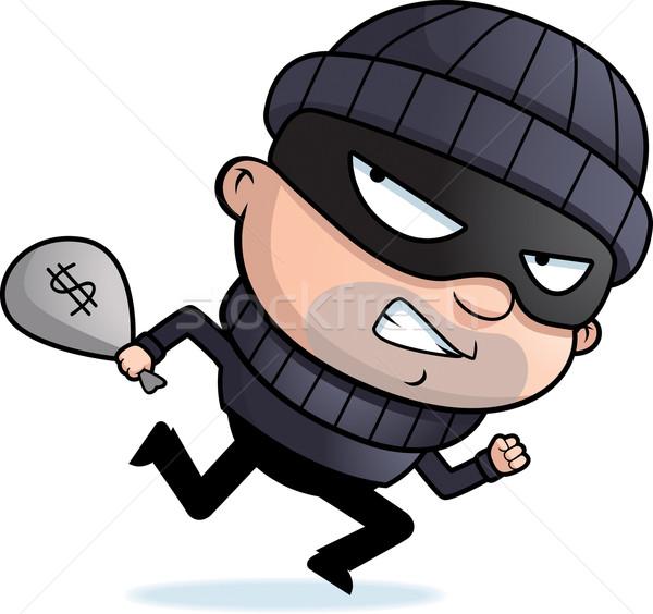 Inbreker lopen cartoon weg gestolen geld Stockfoto © cthoman