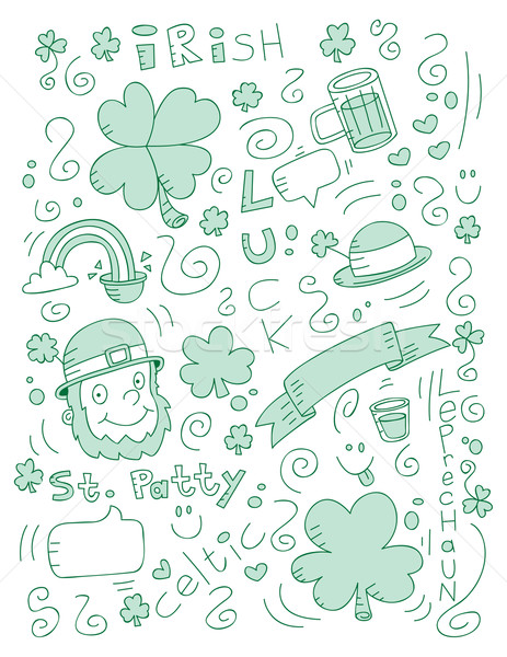 Irish doodle cartoon birra sfondo verde Foto d'archivio © cthoman