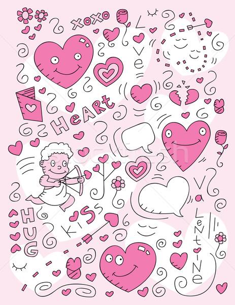 Miłości gryzmolić cartoon wzrosła szczęśliwy usta Zdjęcia stock © cthoman