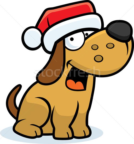 Christmas hond gelukkig cartoon Stockfoto © cthoman