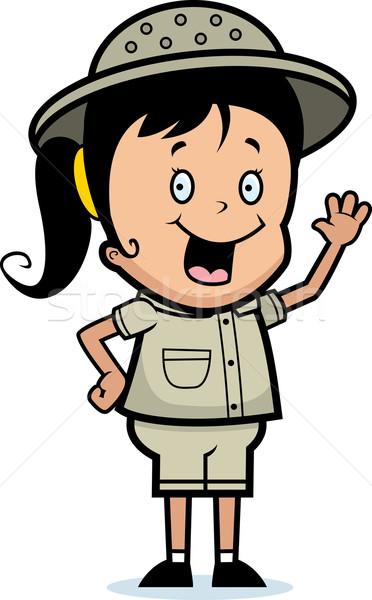Felfedező integet boldog rajz gyermek mosolyog Stock fotó © cthoman