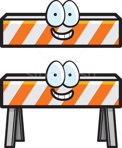 Bouw barricaderen cartoon gelukkig glimlachend Stockfoto © cthoman