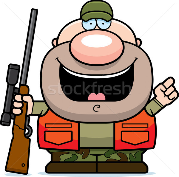 Cartoon hunter pomysł ilustracja mężczyzn pistolet Zdjęcia stock © cthoman