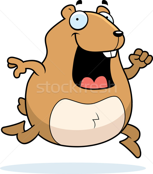 Hamster lopen gelukkig cartoon glimlachend Stockfoto © cthoman