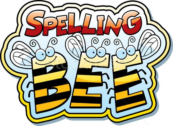 Cartoon orthographe abeille illustration mot buzz Photo stock © cthoman