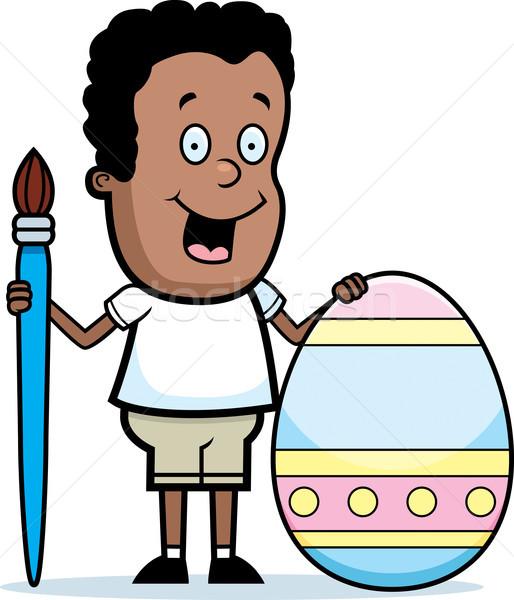 Cartoon Boy Painting Easter Egg Stock photo © cthoman