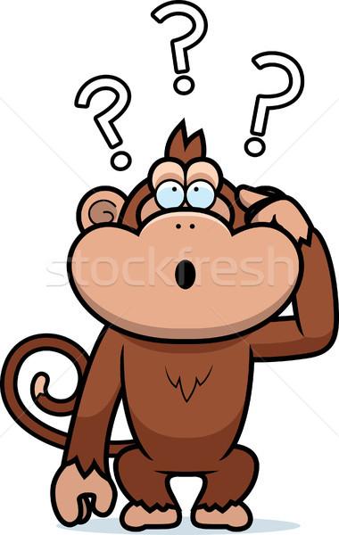 Desenho animado estúpido macaco ilustração cabeça animal Foto stock © cthoman