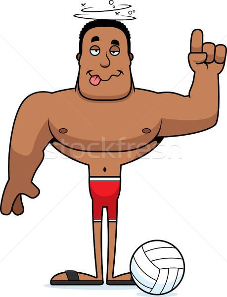 Desenho animado bêbado praia voleibol jogador olhando Foto stock © cthoman