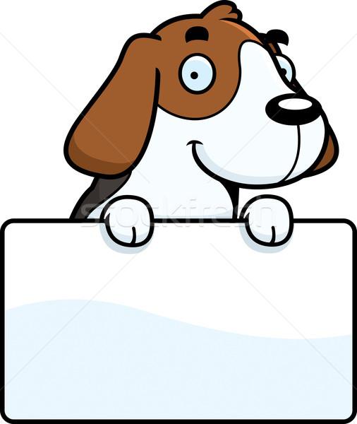 Cartoon beagle podpisania ilustracja biały billboard Zdjęcia stock © cthoman