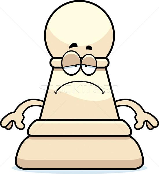 Sad Cartoon Chess Pawn Stock photo © cthoman