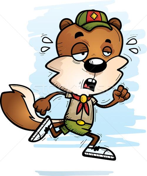 Bitkin karikatür erkek sincap izci örnek Stok fotoğraf © cthoman