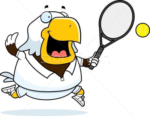 Karikatur Adler Tennis Illustration bald spielen Stock foto © cthoman