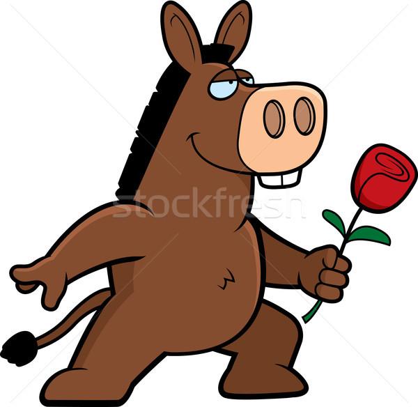 Ezel bloem gelukkig cartoon liefde dier Stockfoto © cthoman