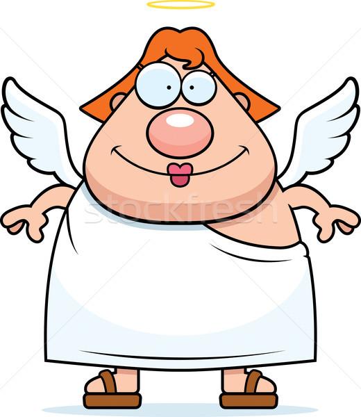 ангела улыбаясь счастливым Cartoon женщину Сток-фото © cthoman