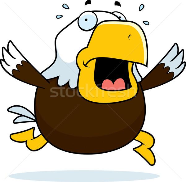 Cartoon chauve aigle panique courir oiseau Photo stock © cthoman
