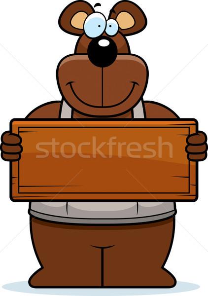 Cartoon Woodworking Bear Sign Stock photo © cthoman