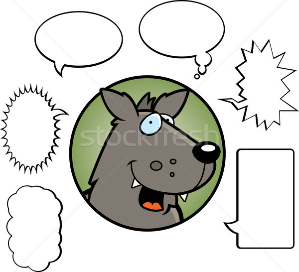 Cartoon Wolf Talking Stock photo © cthoman