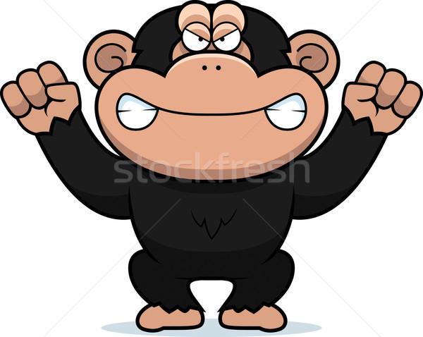 Boos cartoon chimpansee illustratie naar dier Stockfoto © cthoman