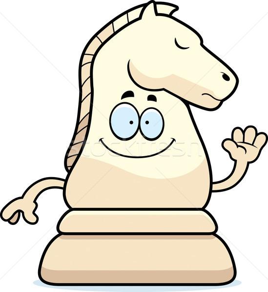 Cartoon Chess Knight Waving Stock photo © cthoman
