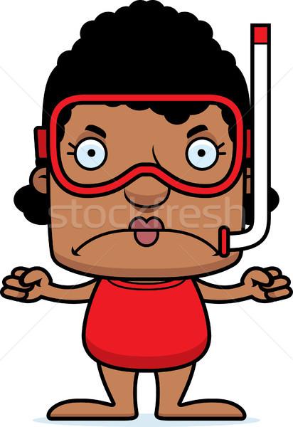 Karikatür öfkeli kadın bakıyor grafik Stok fotoğraf © cthoman