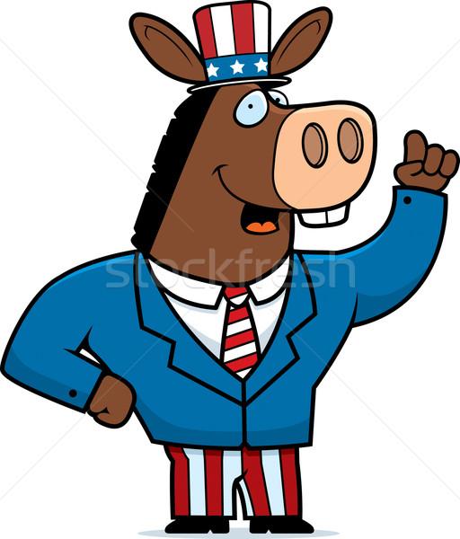 Vaderlandslievend ezel gelukkig cartoon pak amerika Stockfoto © cthoman