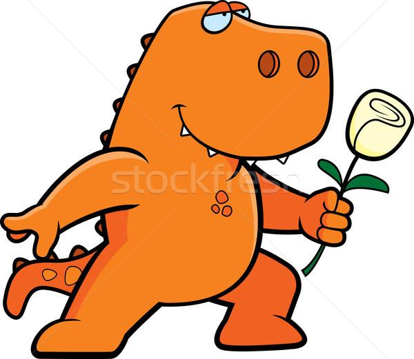 Dinosauro fiore felice cartoon arancione Foto d'archivio © cthoman