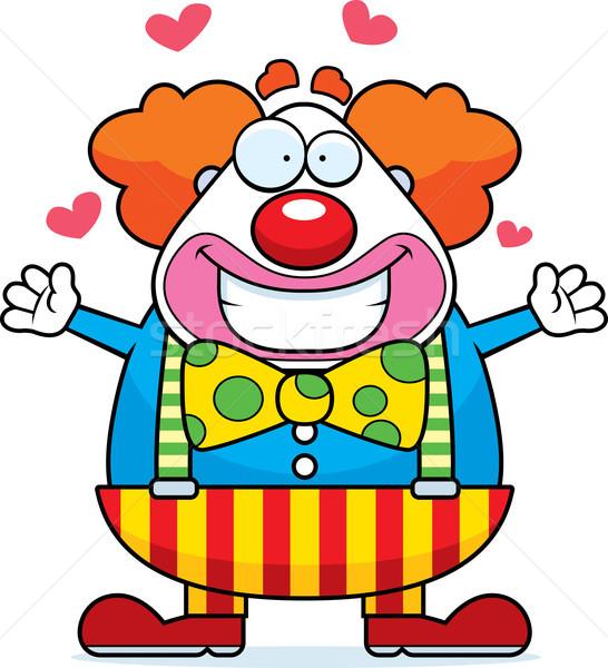 Cartoon clown knuffel gelukkig klaar geven Stockfoto © cthoman