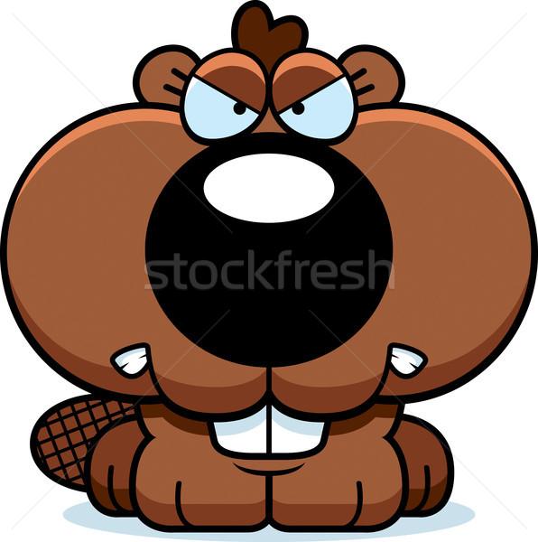 Cartoon Beaver Angry Stock photo © cthoman