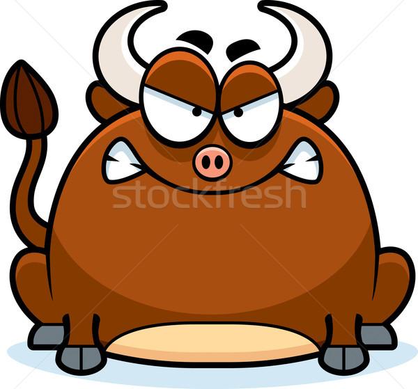 Pazza piccolo toro cartoon illustrazione guardando Foto d'archivio © cthoman