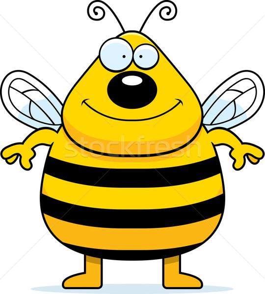 Bee glimlachend gelukkig cartoon permanente Stockfoto © cthoman