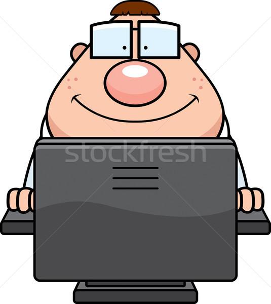 Foto d'archivio: Computer · nerd · cartoon · felice · tastiera · monitor