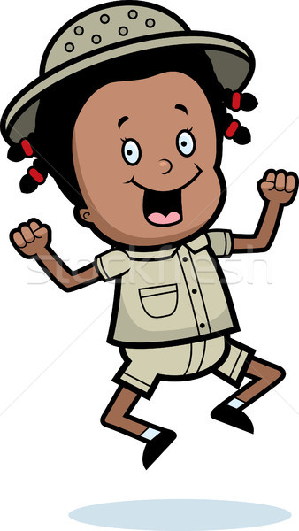 Ontdekkingsreiziger springen gelukkig cartoon kind glimlachend Stockfoto © cthoman