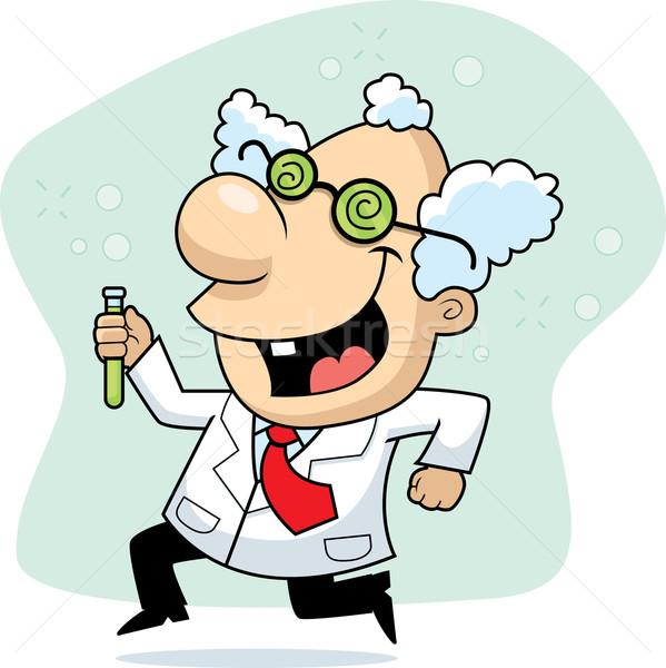 Pazza scienziato felice cartoon esecuzione sorridere Foto d'archivio © cthoman