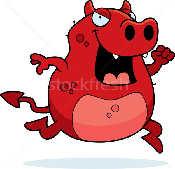 Diavolo esecuzione felice cartoon sorridere rosso Foto d'archivio © cthoman