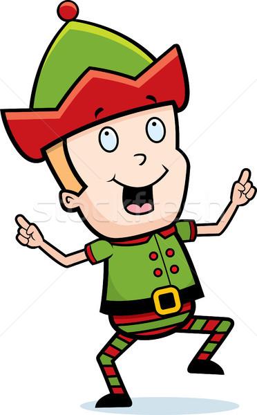 Elf danse heureux cartoon Noël souriant Photo stock © cthoman