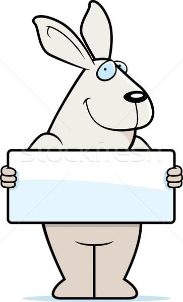 Konijn teken gelukkig cartoon bunny witte Stockfoto © cthoman