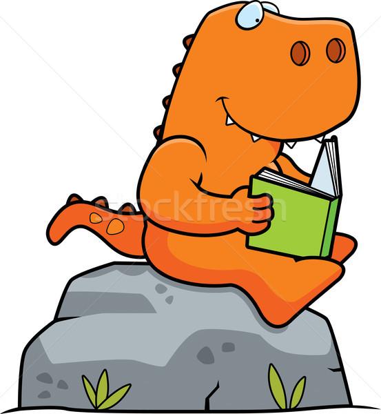 Cartoon динозавр чтение книга рок Сток-фото © cthoman