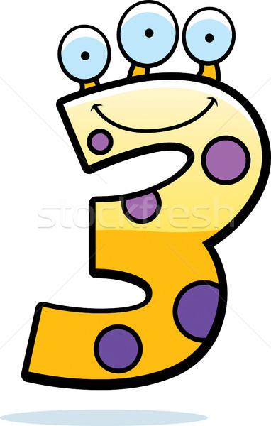 числа три монстр Cartoon иллюстрация улыбаясь Сток-фото © cthoman