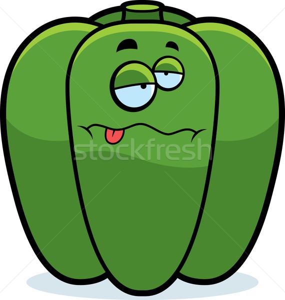 Rajz beteg paprika illusztráció zöld néz Stock fotó © cthoman