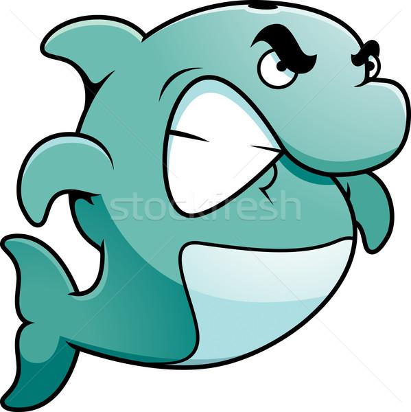 сердиться дельфин Cartoon иллюстрация глядя животного Сток-фото © cthoman