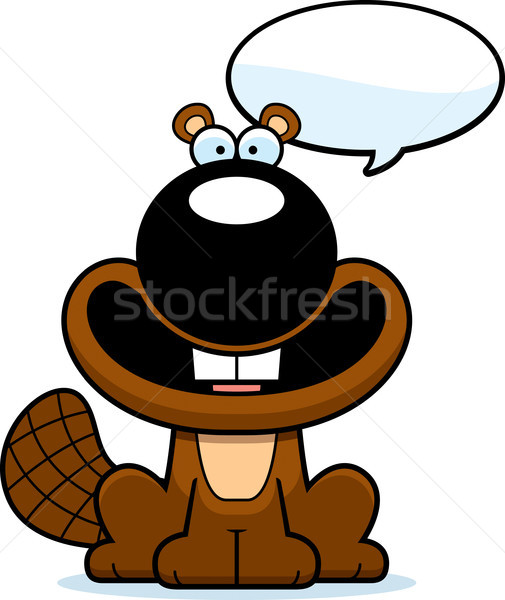 Talking Cartoon Beaver Stock photo © cthoman